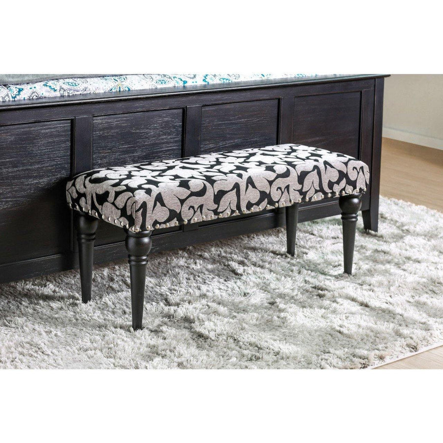 Kim Transitional Floral Print Accent Bench In Gray And Black