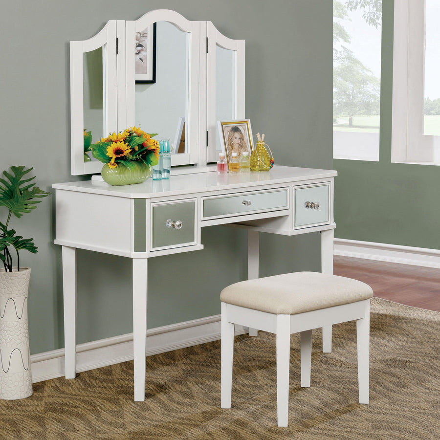 Alma Contemporary Style Vanity Table & Stool in White