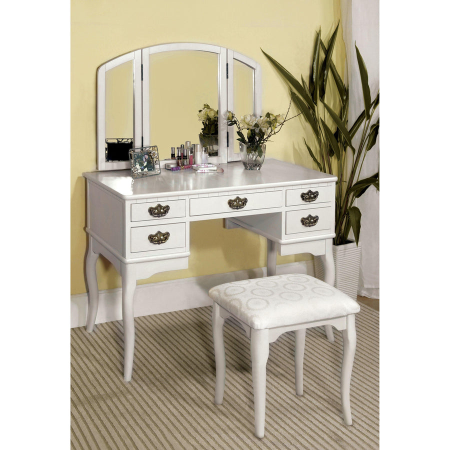 Zaragoza Transitional Style Vanity Table & Stool Set in White
