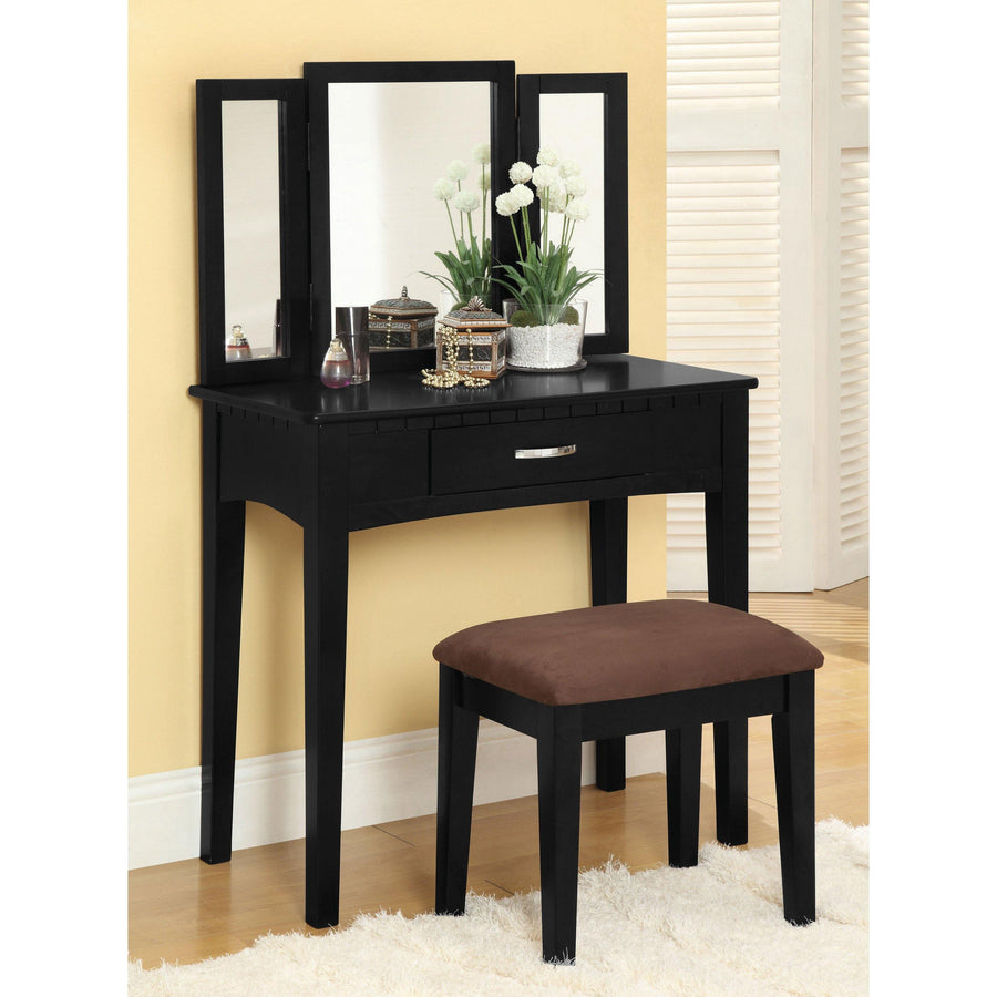 Balister Transitional Style Vanity Table & Stool Set in Black
