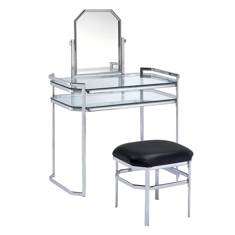 Cahlo Contemporary Style Vanity Table & Stool Set in Chrome