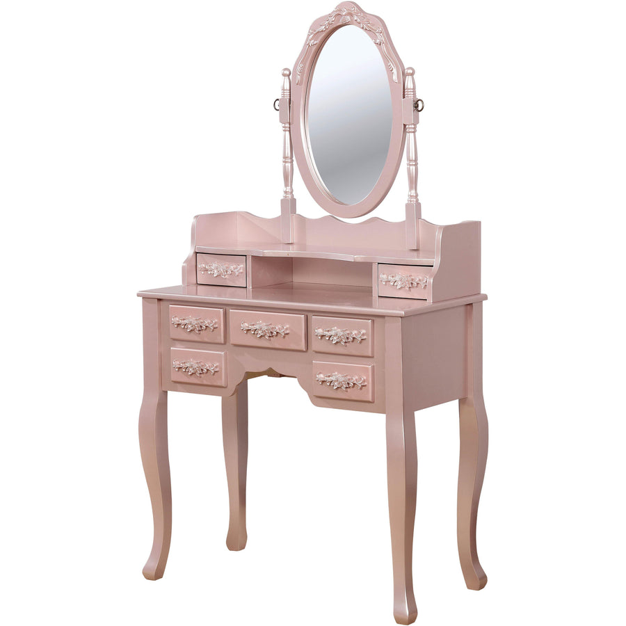 Cambriah Transitional Style Vanity Table & Stool in Rose Gold