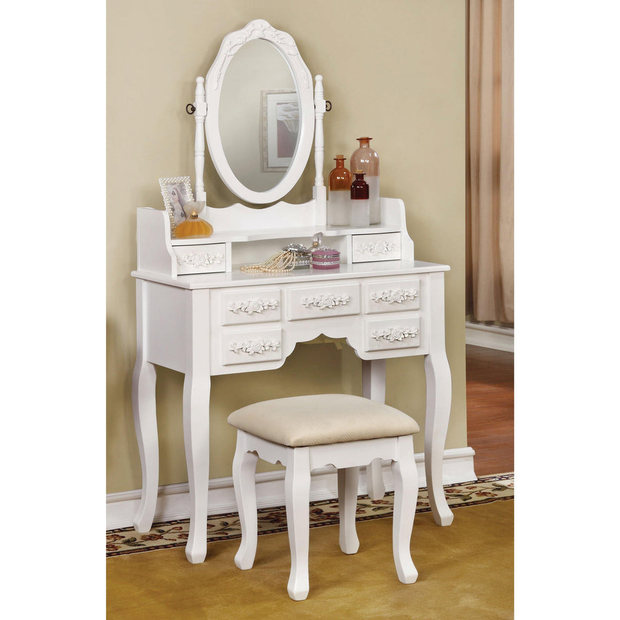 Cambriah Transitional Style Vanity Table & Stool in White