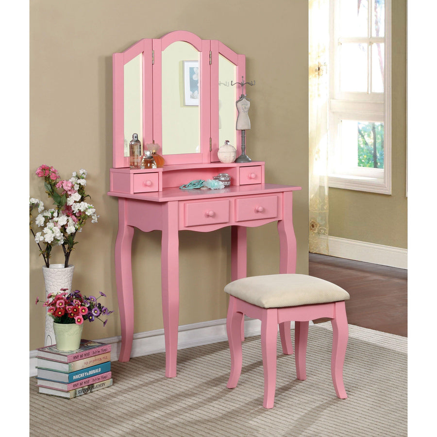 Anais Transitional Style Vanity Table & Stool In Pink