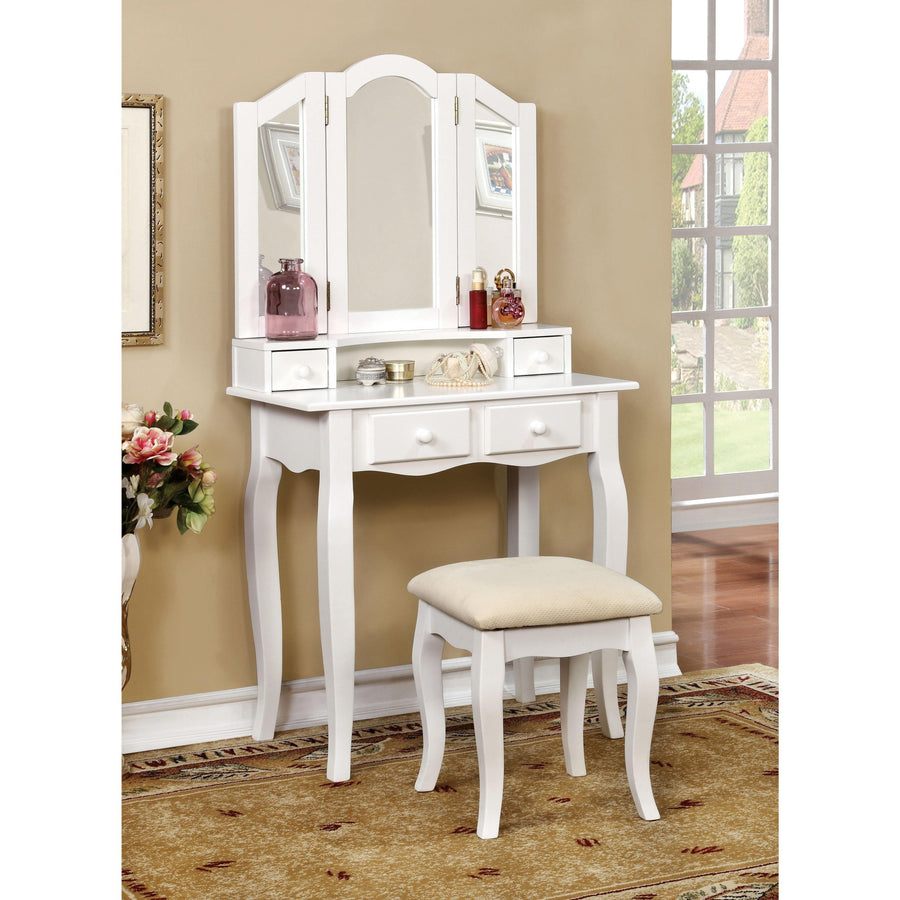 Anais Transitional Style Vanity Table & Stool In White