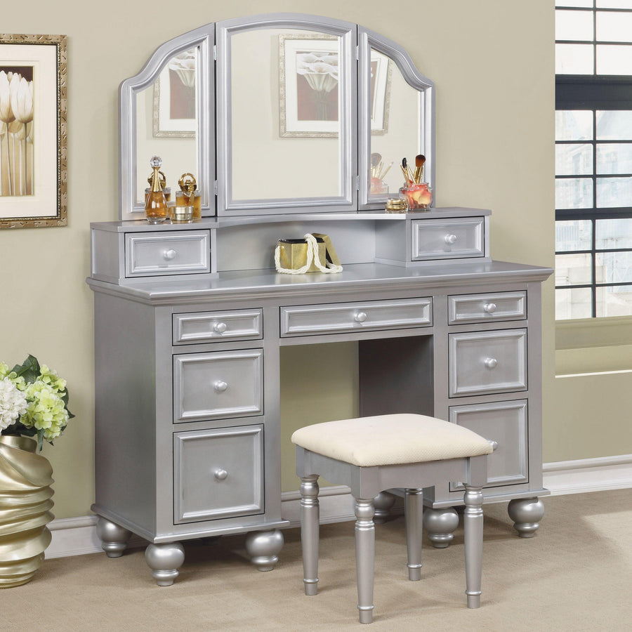 Elisabeth Transitional Style Vanity Table & Stool in Silver
