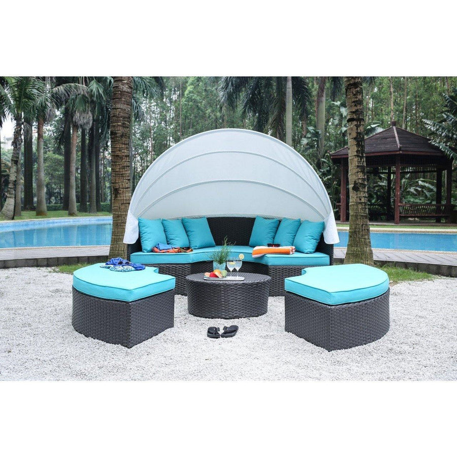 Samyha Contemporary Style Outdoor Patio Outdoor Patio Daybed with Canopy Set