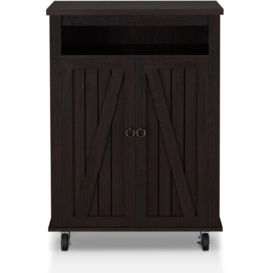 Theodore Rustic Rolling Shoe Cabinet