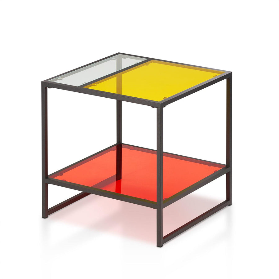 Maguire Contemporary Multi-color Glass Top Coffee Table