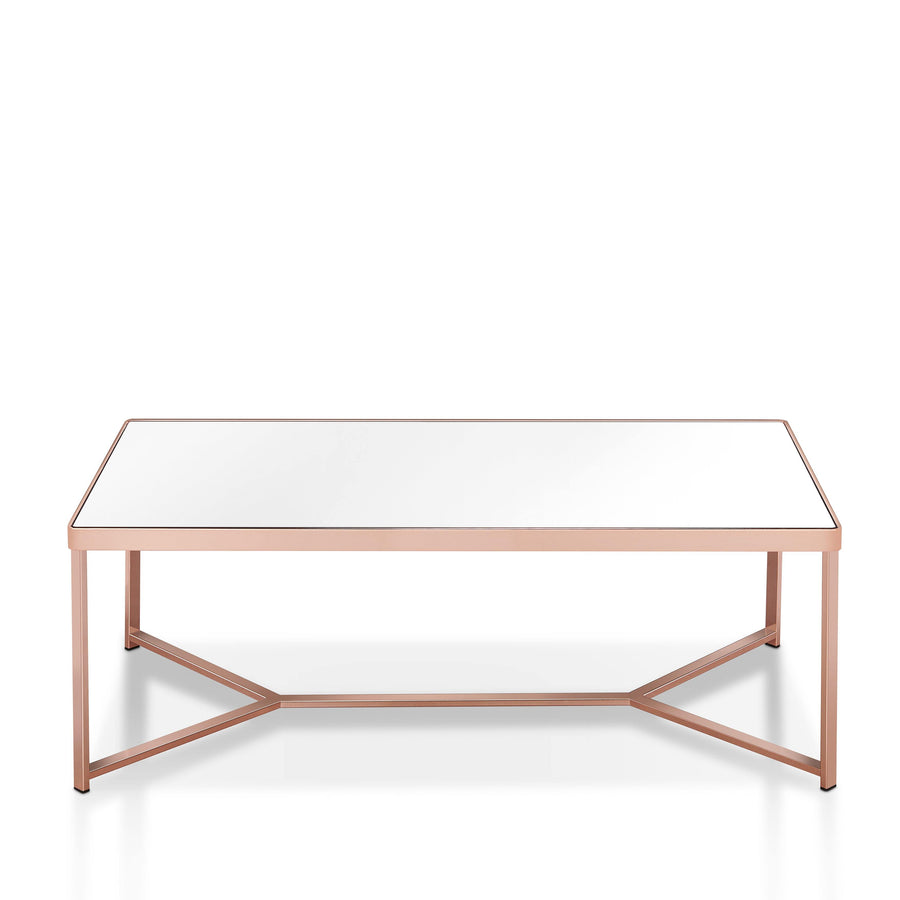 Reed Modern Mirrored Rectangular Coffee Table