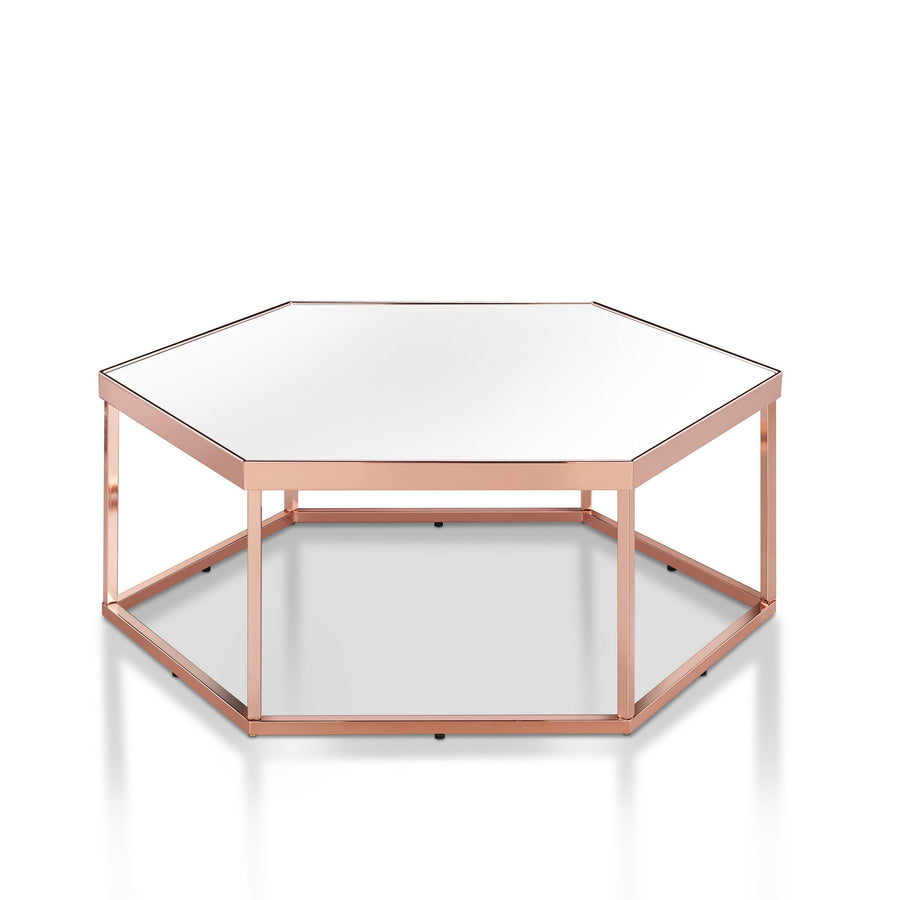 Reed Modern Mirrored Hexagon-shaped Coffee Table