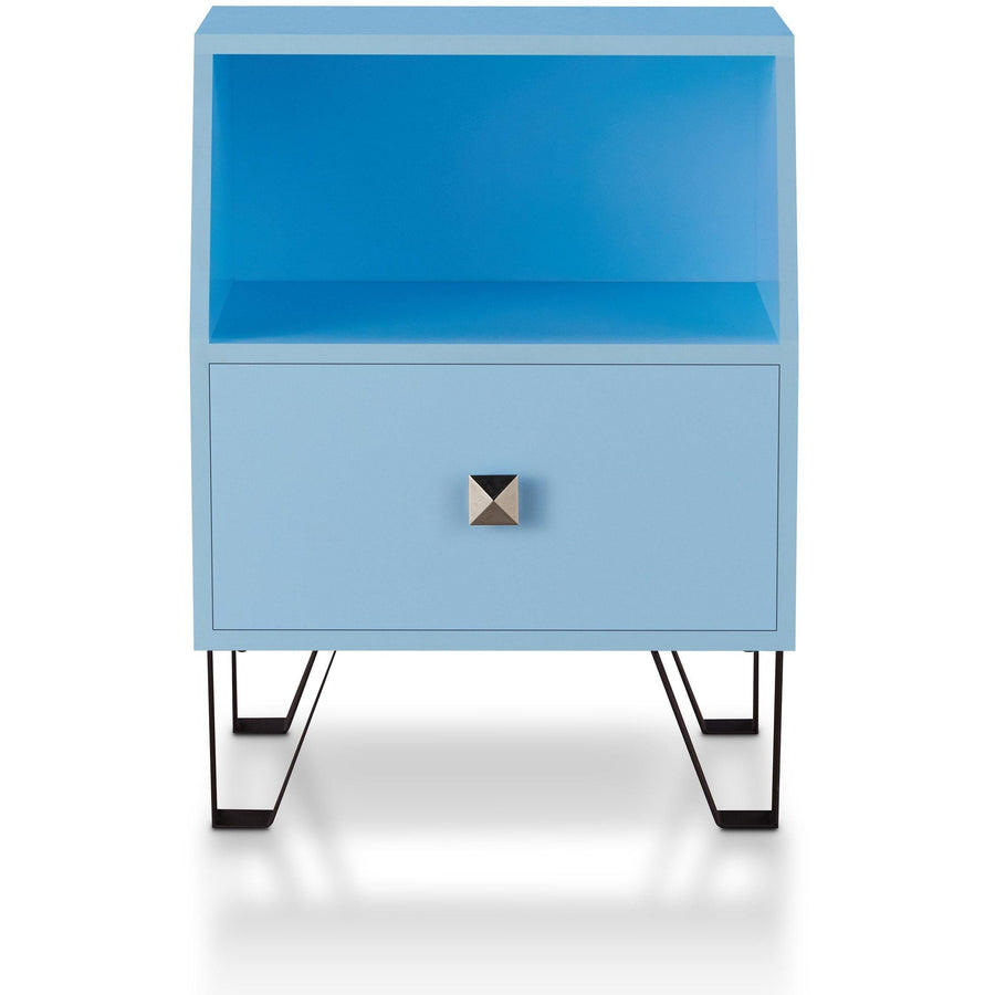 Brier Contemporary Style Single Drawer Navy End Table