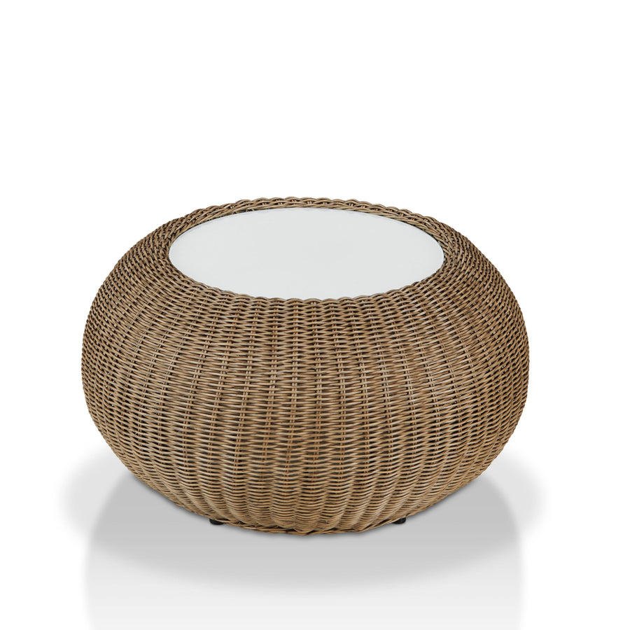 Outdoor Drum Like Coffee Table, Natural Tone