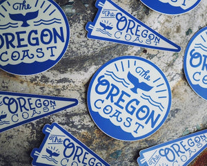 Oregon Coast Whale Sticker - Circle