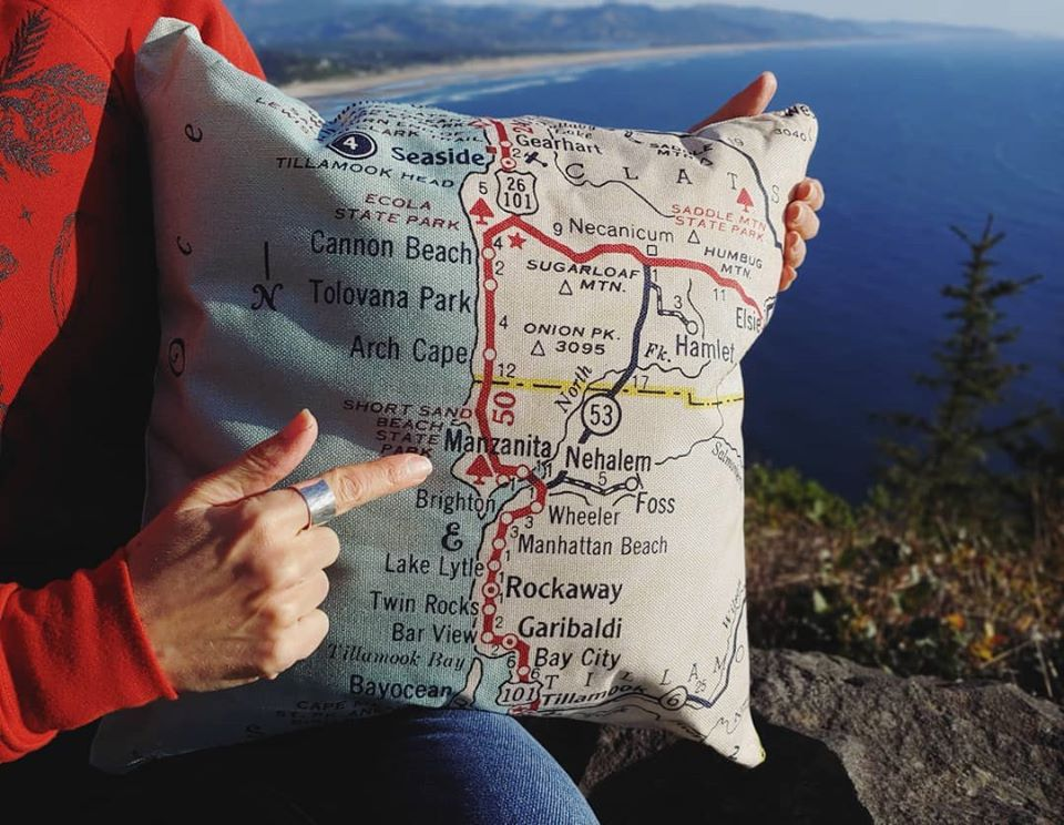 Retro Manzanita Map Pillow