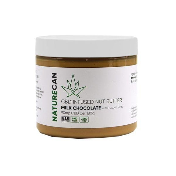 Naturecan 90mg CBD 180g Nut Butter Milk Chocolate with Cacao Nibs - Shark Vapes Limited