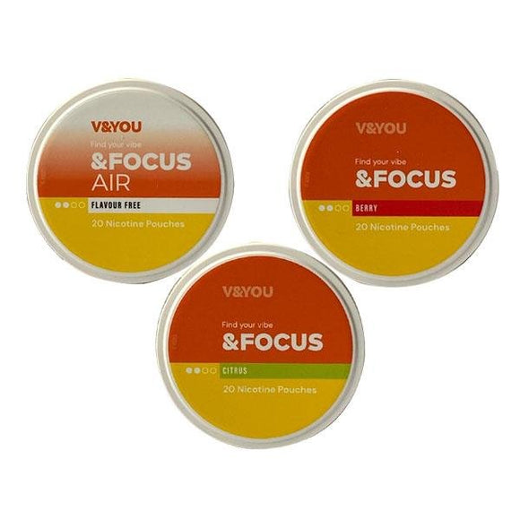 V&YOU &Focus 6mg Nicotine Infused Pouches - Shark Vapes Limited