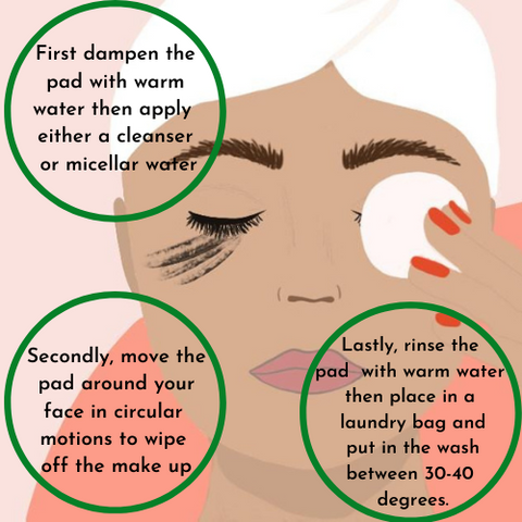 infographic on how to take off make up with bamboo face pad