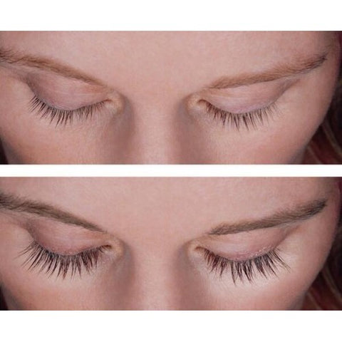 before and after image of eyelash growth after using serum