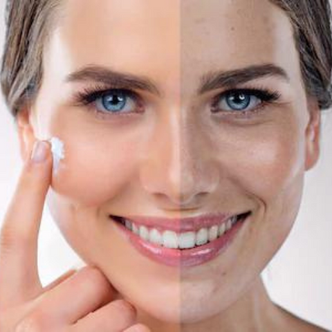 women with skin with and without vitamin c