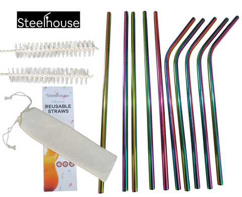 Pack of 10 stainless steel straws with 2 cleaning brushes