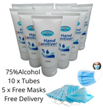 10 x tubes of hand sanitiser with face masks