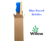 bamboo toothbrush with blue medium waved bristles