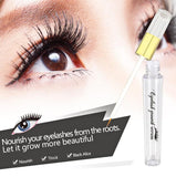 eyelash serum and photo of long eyelashes