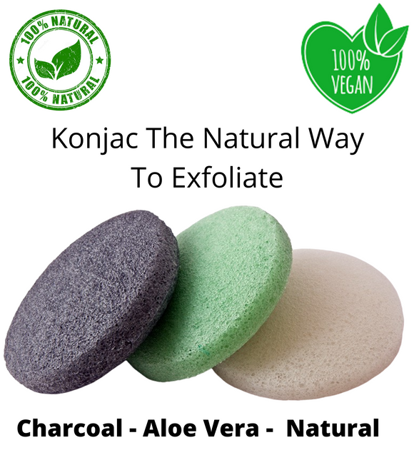 3 natural konjac sponges
