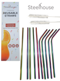 10 stainless steel straws with 2 cleaning brushes and the packaging box