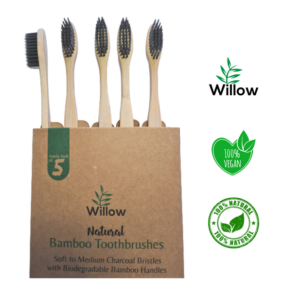Family Pack Of 5 Charcoal Toothbrushes