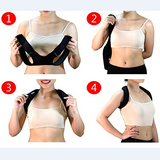 women showing how to put on a posture corrector, slip your arms through the hoops and then put over you head