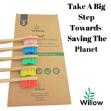 5 bamboo toothbrushes with recyclable packaging