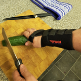 chopping veg with wrist support brace on