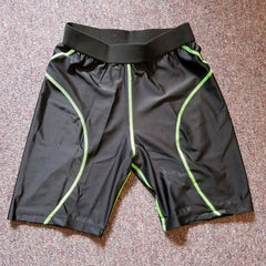 Black/Green Stitch Compression Shorts