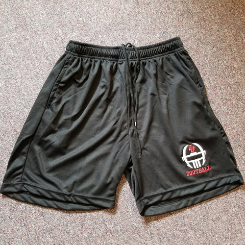 Black embroidered facemask shorts
