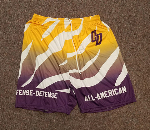 Purple and Gold Sublimated Shorts