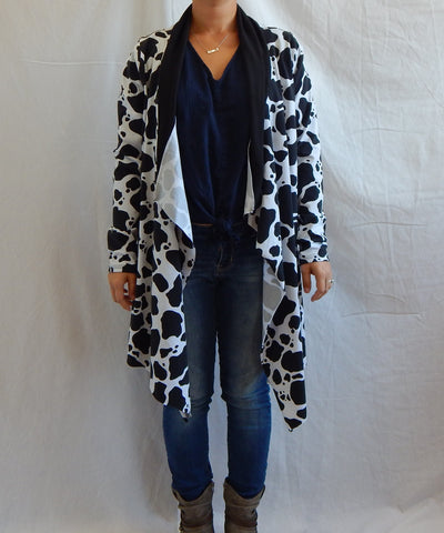 S/M Cow Print Open Front Waterfall Cardigan Sweater Nursing Cover