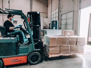 Moving Bulk Face Masks with Forklift