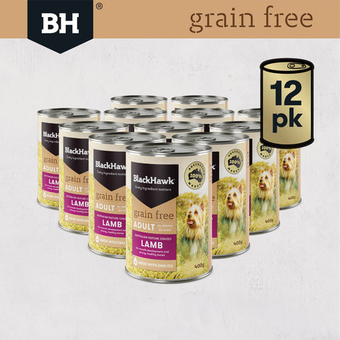 Black Hawk Grain Free Lamb Wet Food For Dogs - Bundle Pack (12 x 400g)