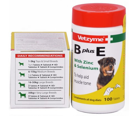 Vetzyme B + E Vitamins - 100 Tablets