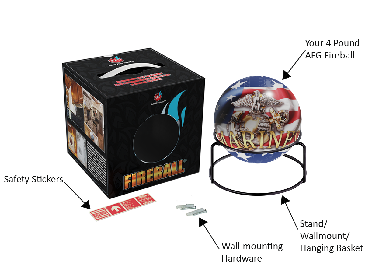 AFG Fireball®-MARINE CORPS: 4 lb Fire Extinguisher Ball, includes Metal Harness, Screws, Glow-In-Dark Sign, User Manual & 10-Year Warranty