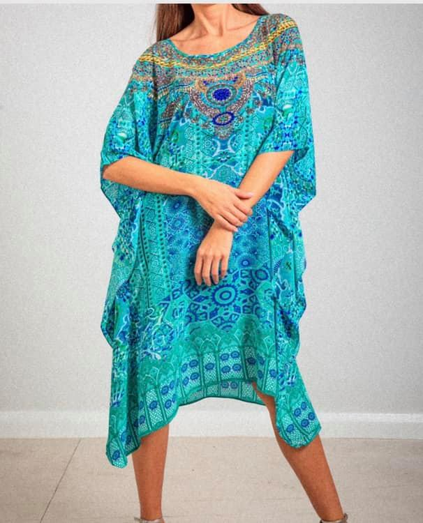 For JOJO Blue Silk Short Kaftan