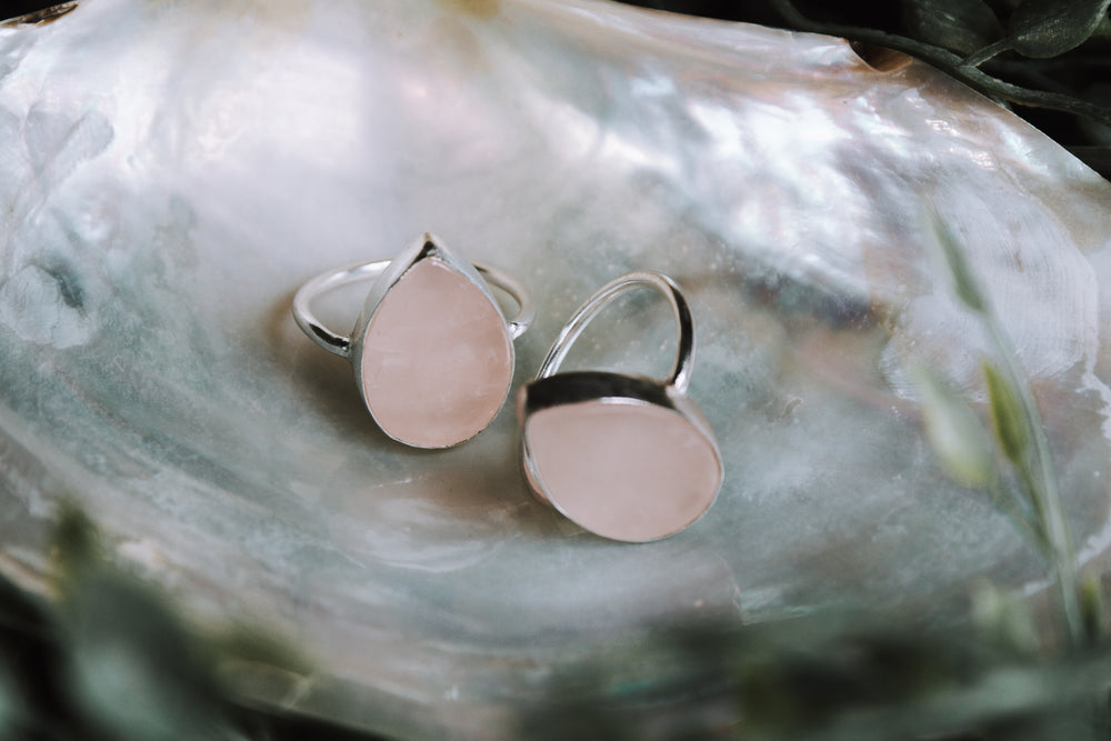 Tear Drop Rose Quartz Ring - Gold and Silver