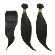 "Load image into Gallery viewer, 14"" 14"" + 14 Closure Straight Bundle Deal - Harlem Hair Company"