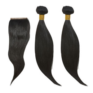 "14"" 14"" + 14 Closure Straight Bundle Deal - Harlem Hair Company"