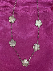 Opal Flower Sterling Necklace