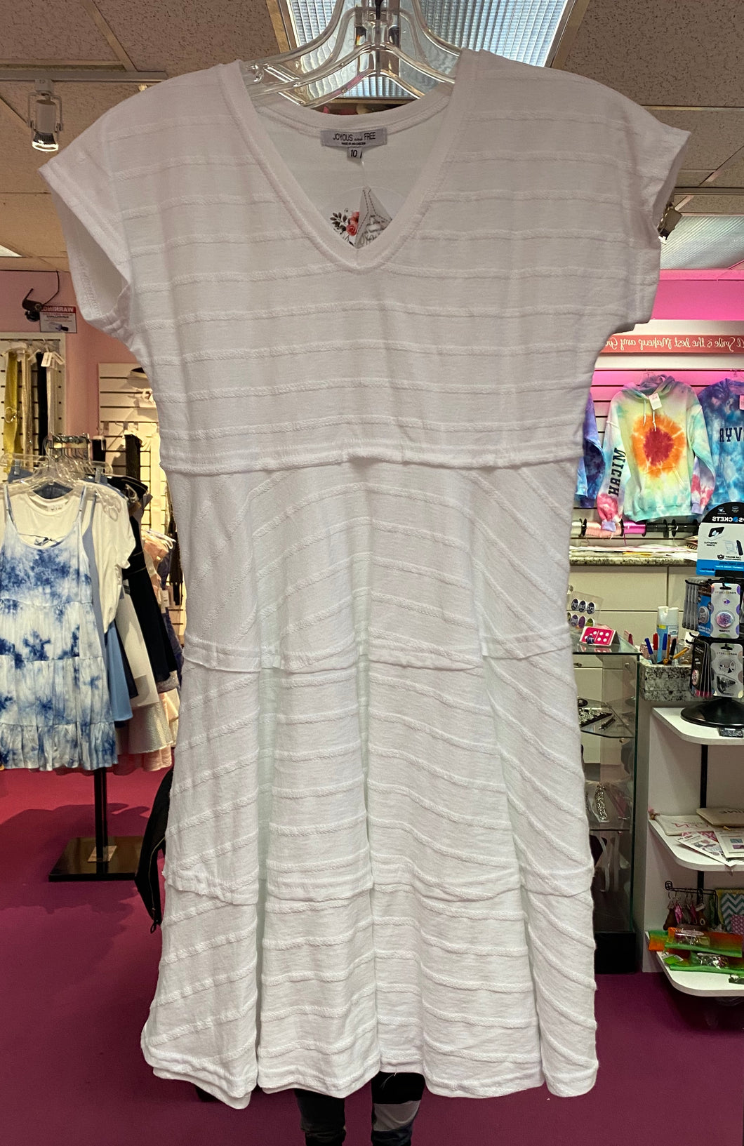 Girls White T-Shirt Dress