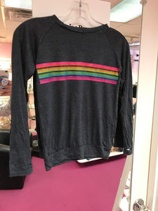 Athletic Stripe LS Top- Charcoal