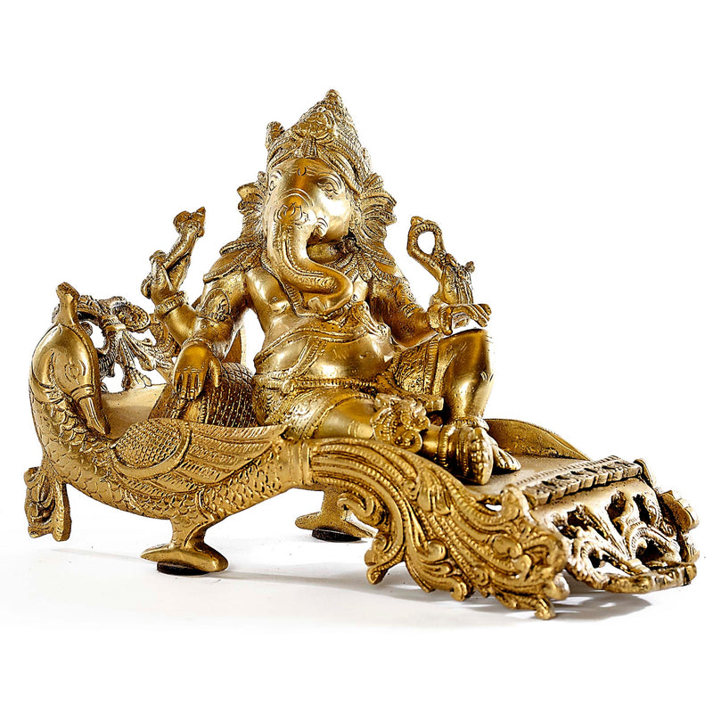 Brass Ganesh Sitting on Peacock Throne Medium Size